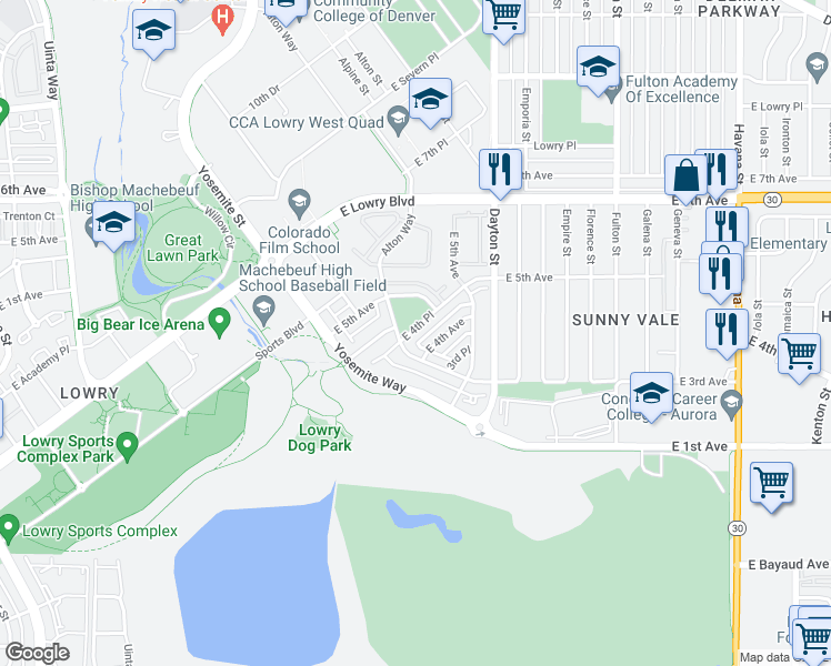 map of restaurants, bars, coffee shops, grocery stores, and more near 9360 4th Place in Denver