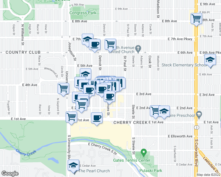 map of restaurants, bars, coffee shops, grocery stores, and more near 340 Fillmore Street in Denver