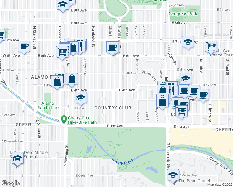 map of restaurants, bars, coffee shops, grocery stores, and more near 375 Gilpin Street in Denver