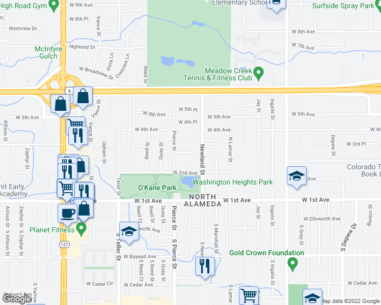 map of restaurants, bars, coffee shops, grocery stores, and more near 6784 West 3rd Avenue in Lakewood