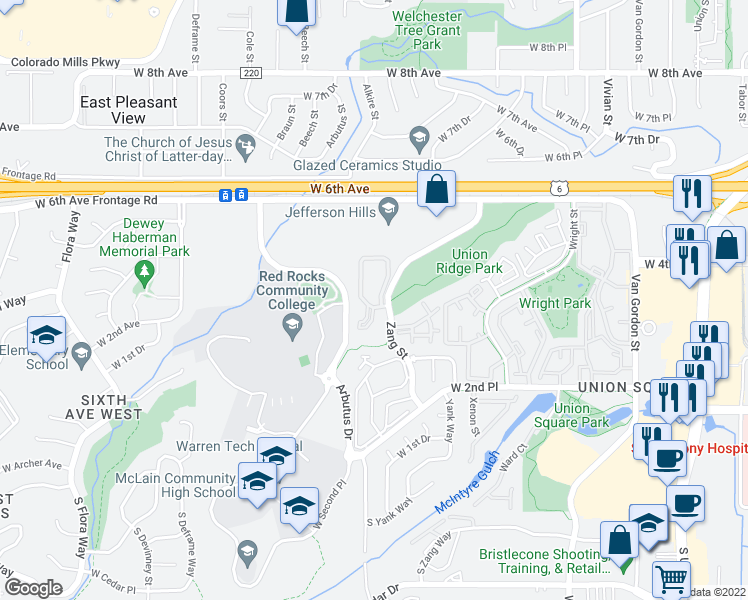 map of restaurants, bars, coffee shops, grocery stores, and more near 409 Zang Street in Lakewood