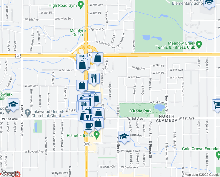 map of restaurants, bars, coffee shops, grocery stores, and more near West 3rd Place in Denver