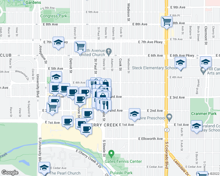 map of restaurants, bars, coffee shops, grocery stores, and more near 349 Adams Street in Denver