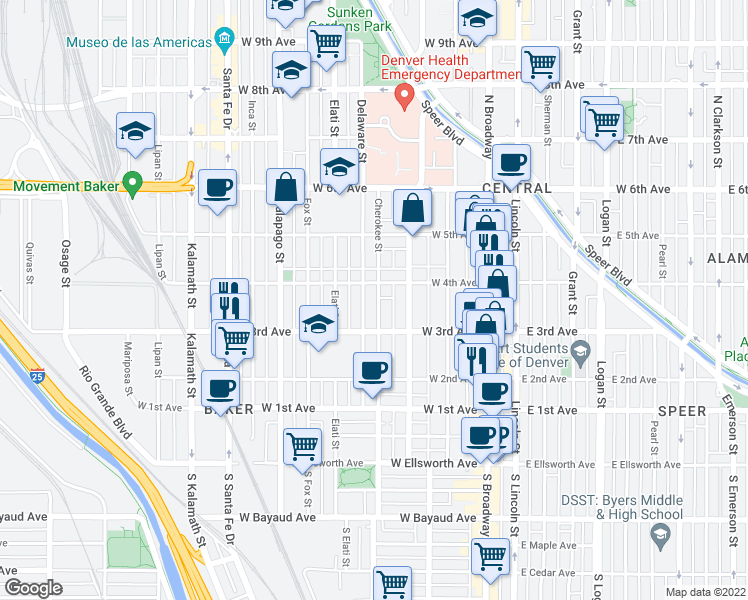 map of restaurants, bars, coffee shops, grocery stores, and more near 353 Cherokee Street in Denver