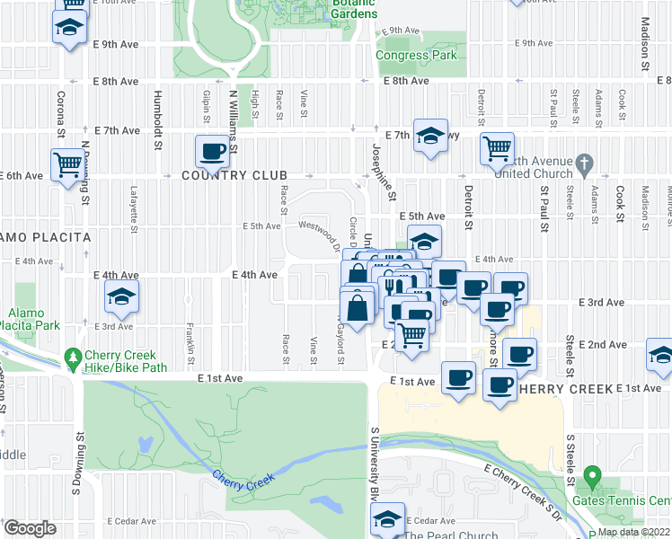map of restaurants, bars, coffee shops, grocery stores, and more near 2128 East 4th Avenue in Denver