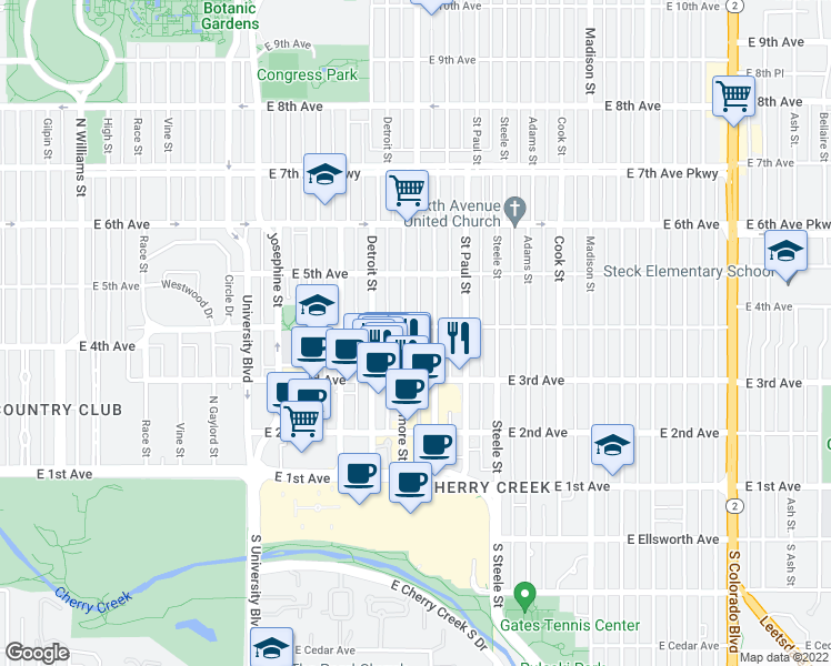 map of restaurants, bars, coffee shops, grocery stores, and more near 2930 East 4th Avenue in Denver