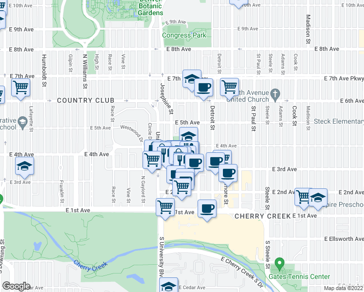 map of restaurants, bars, coffee shops, grocery stores, and more near 462-472 Josephine Street in Denver