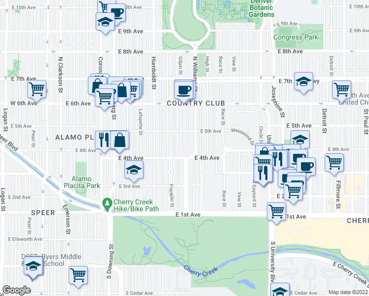 map of restaurants, bars, coffee shops, grocery stores, and more near 428 Gilpin Street in Denv