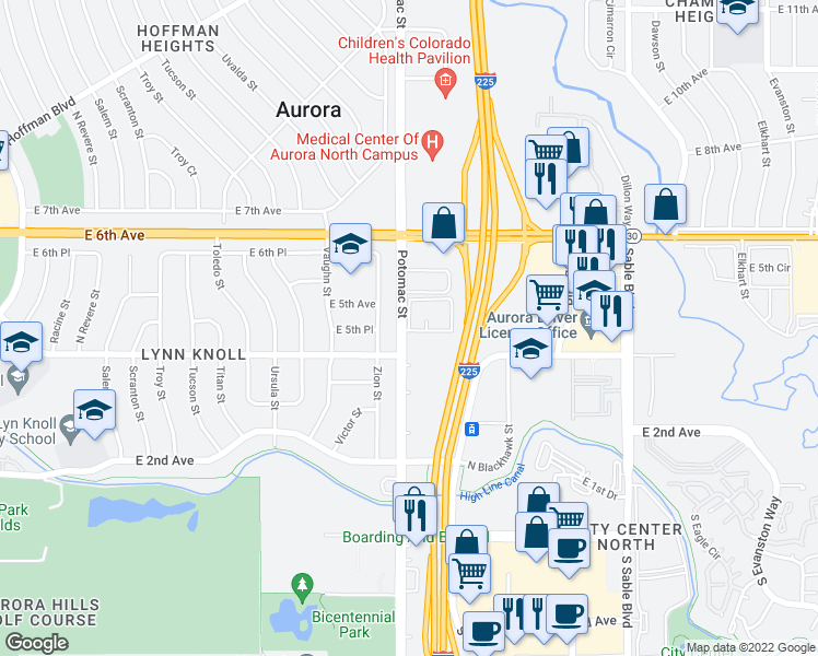 map of restaurants, bars, coffee shops, grocery stores, and more near 13705-13725 East 4th Avenue in Aurora