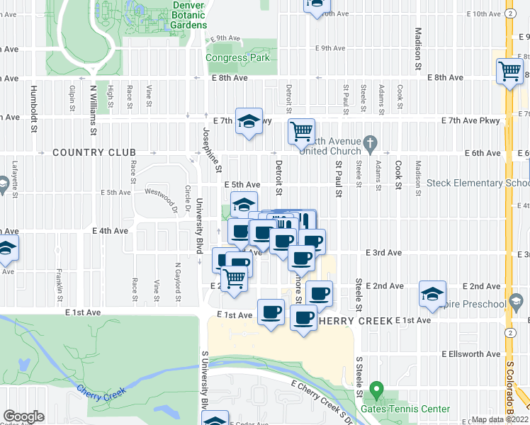 map of restaurants, bars, coffee shops, grocery stores, and more near 404 Clayton Street in Denver