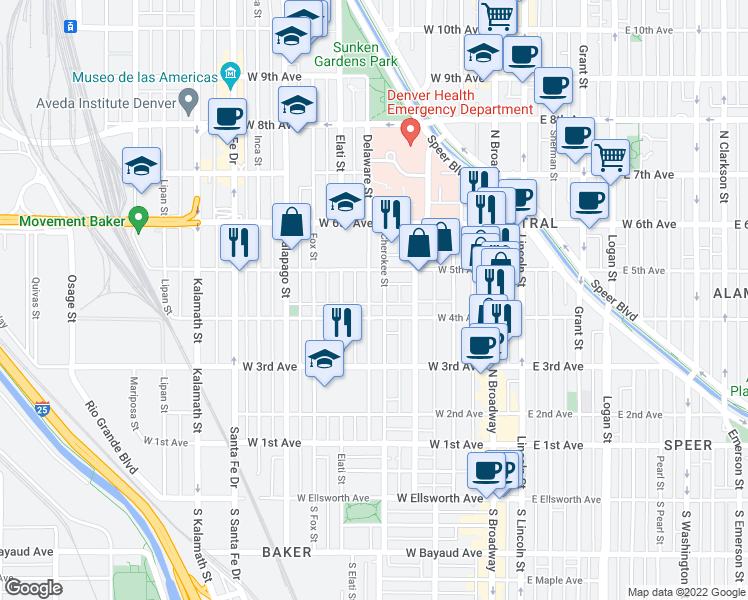 map of restaurants, bars, coffee shops, grocery stores, and more near 420 Delaware Street in Denver
