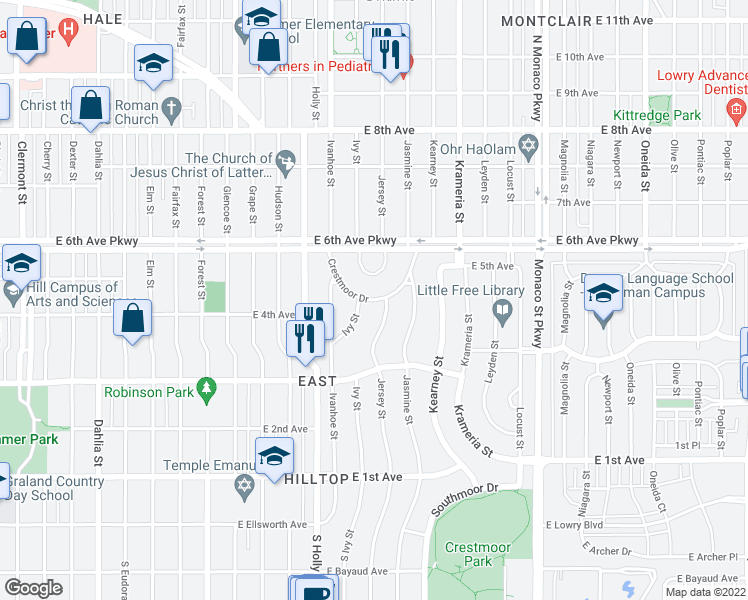 map of restaurants, bars, coffee shops, grocery stores, and more near Crestmoor Drive in Denver