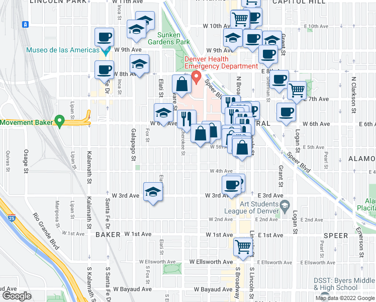 map of restaurants, bars, coffee shops, grocery stores, and more near 242 West 5th Avenue in Denver