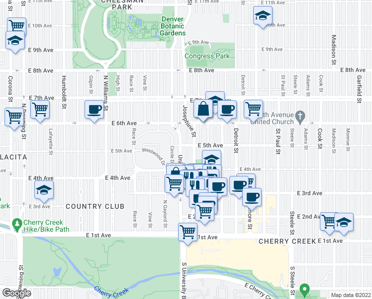 map of restaurants, bars, coffee shops, grocery stores, and more near 2316 East 5th Avenue in Denver