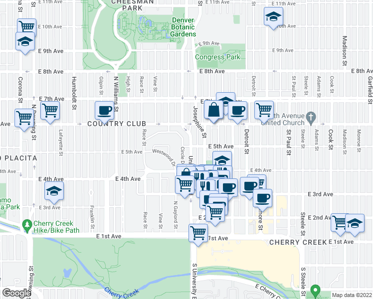 map of restaurants, bars, coffee shops, grocery stores, and more near 480 Circle Drive in Denver