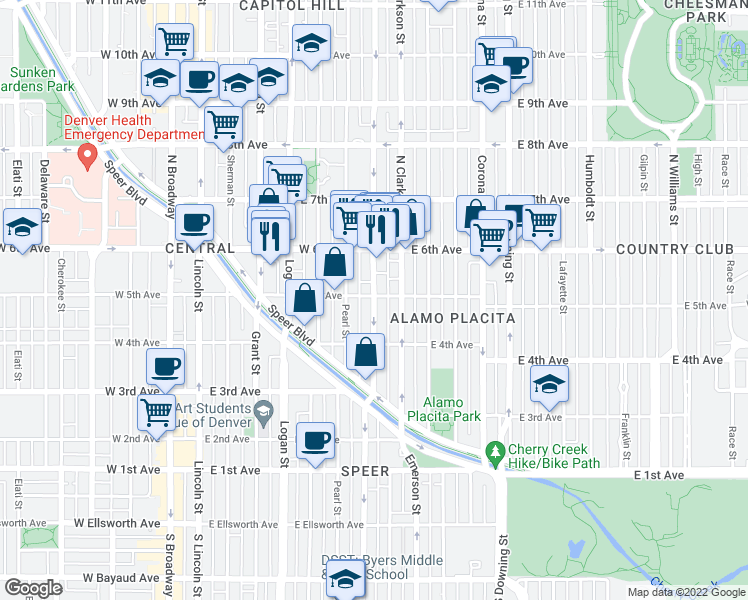 map of restaurants, bars, coffee shops, grocery stores, and more near 480 Washington St in Denver