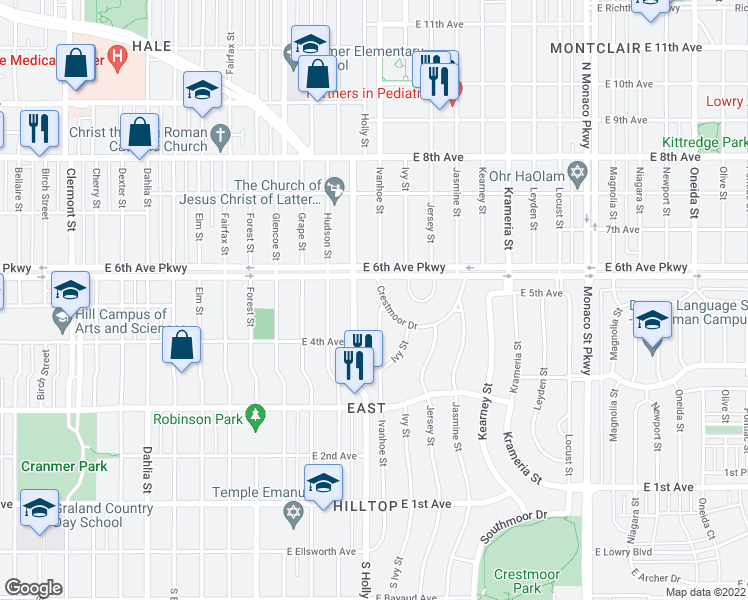 map of restaurants, bars, coffee shops, grocery stores, and more near 3 Crestmoor Drive in Denver
