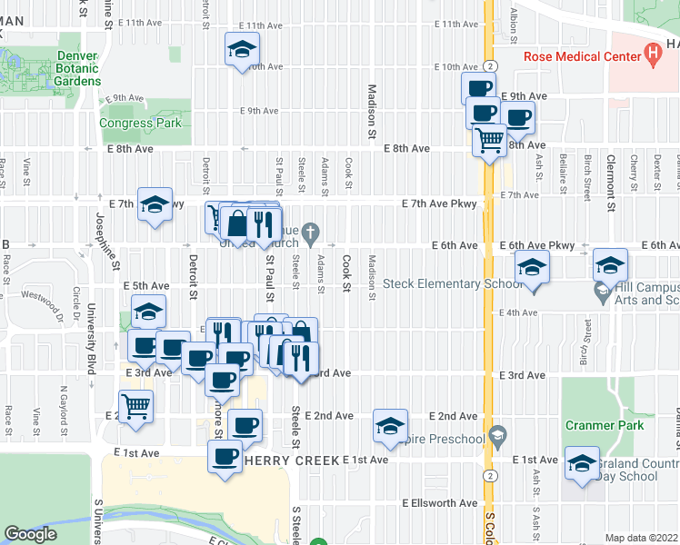 map of restaurants, bars, coffee shops, grocery stores, and more near 527 Cook Street in Denver