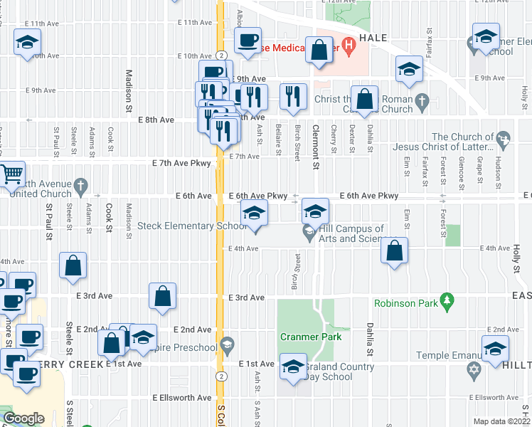 Map Of Restaurants Bars Coffee Shops Grocery Stores And More Near 520