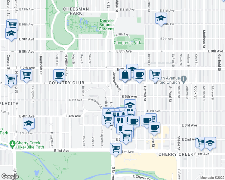 map of restaurants, bars, coffee shops, grocery stores, and more near 526 University Boulevard in Denver