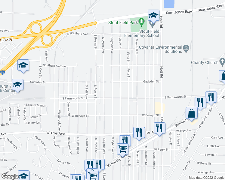 map of restaurants, bars, coffee shops, grocery stores, and more near S Rybolt Ave in Indianapolis