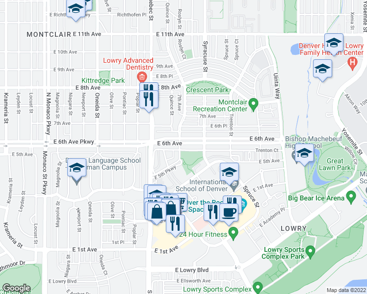 map of restaurants, bars, coffee shops, grocery stores, and more near 7500 East 6th Avenue in Denver
