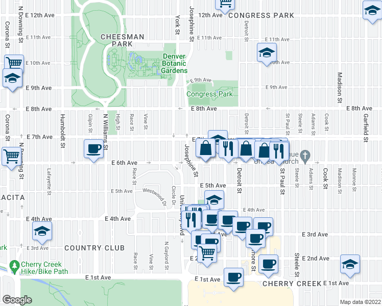 map of restaurants, bars, coffee shops, grocery stores, and more near 630 Josephine Street in Denver