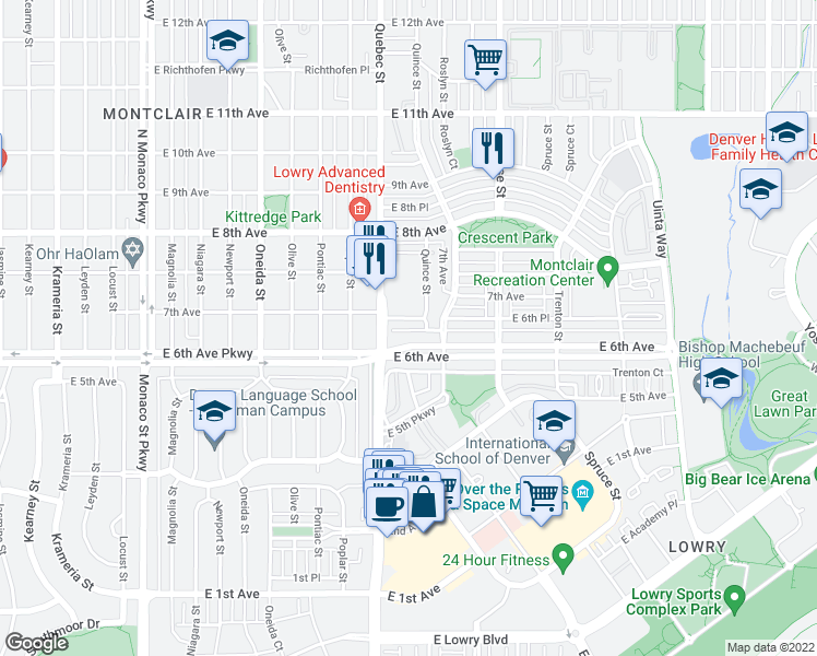 map of restaurants, bars, coffee shops, grocery stores, and more near 7422 East 7th Avenue in Denver