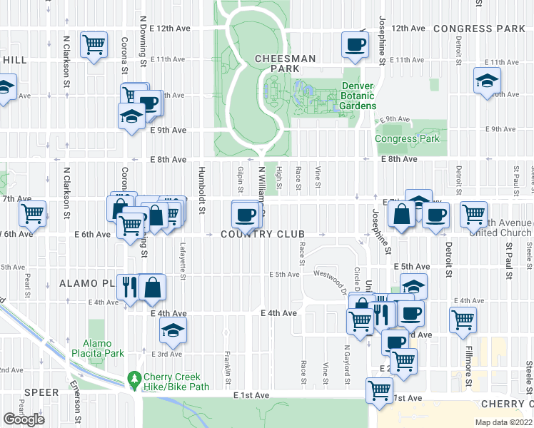map of restaurants, bars, coffee shops, grocery stores, and more near 650 Williams Street in Denver