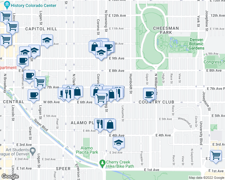 map of restaurants, bars, coffee shops, grocery stores, and more near 675 Marion Street in Denver