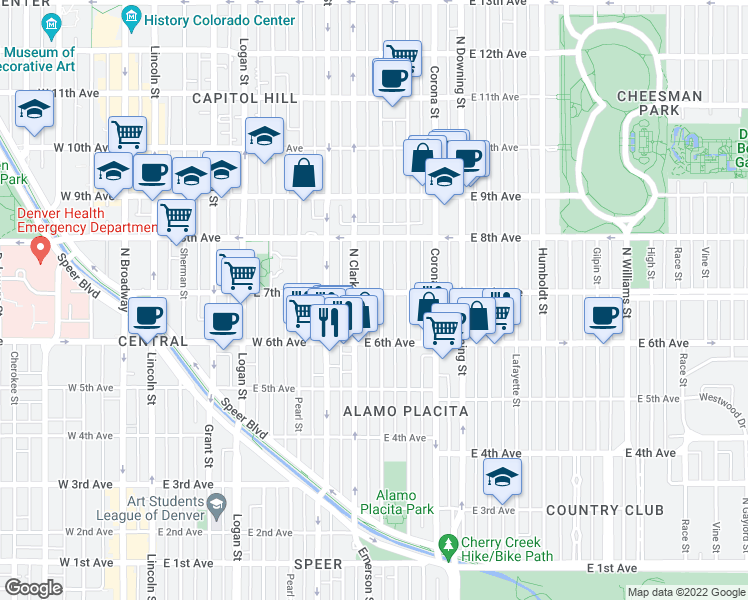 map of restaurants, bars, coffee shops, grocery stores, and more near 685 Emerson Street in Denver