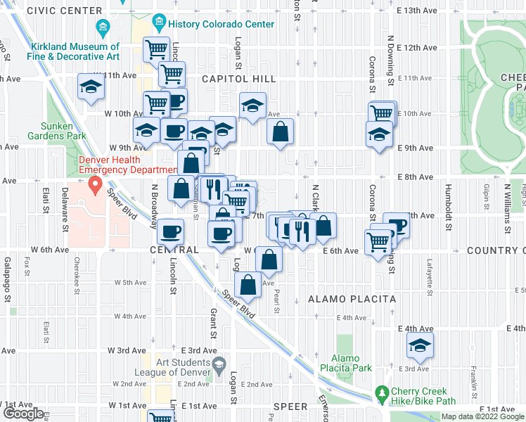 map of restaurants, bars, coffee shops, grocery stores, and more near 700 Pennsylvania Street in Denver