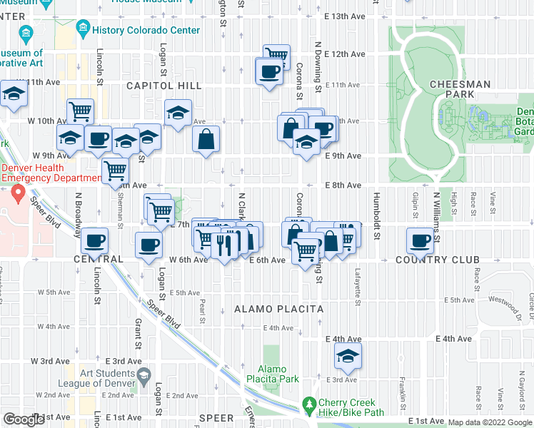 map of restaurants, bars, coffee shops, grocery stores, and more near 720 Emerson Street in Denver