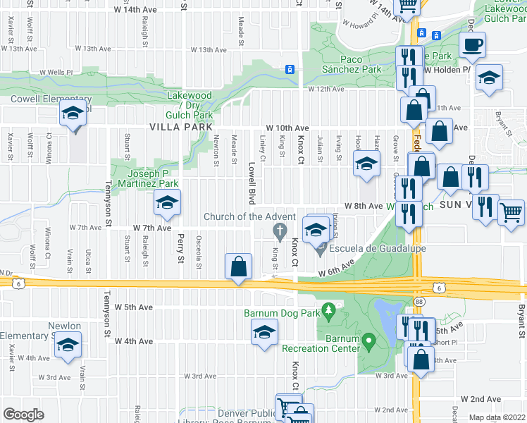 map of restaurants, bars, coffee shops, grocery stores, and more near 3636 West 8th Avenue in Denver