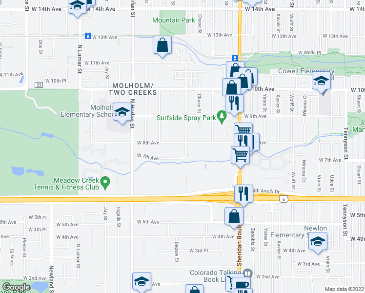 map of restaurants, bars, coffee shops, grocery stores, and more near 795 Depew Street in Denver