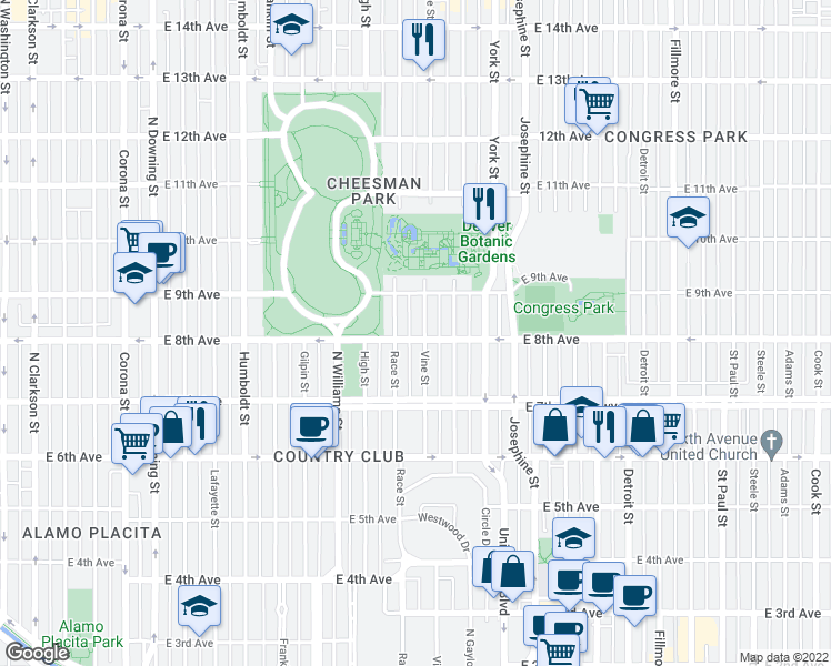 map of restaurants, bars, coffee shops, grocery stores, and more near 801 Vine Street in Denver