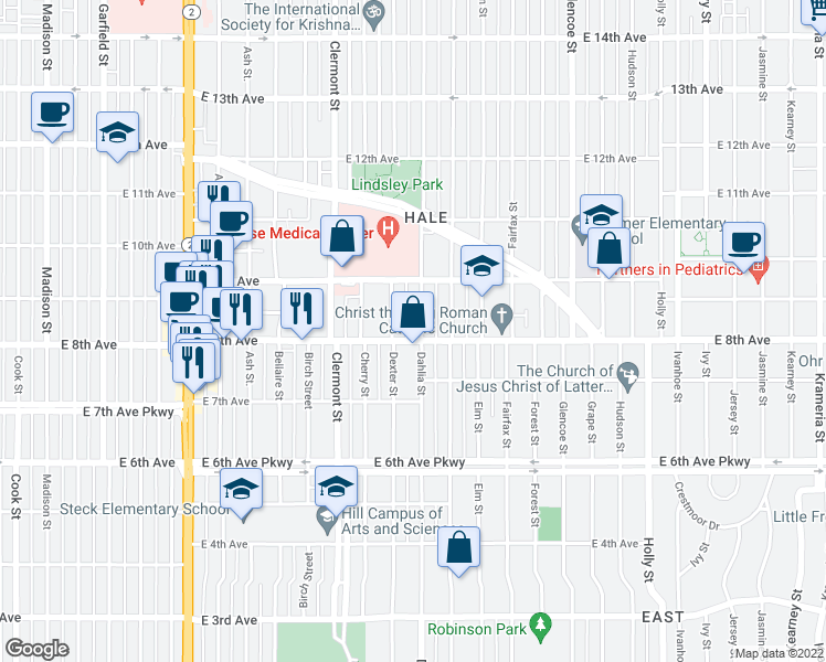 map of restaurants, bars, coffee shops, grocery stores, and more near 805 Dahlia Street in Denver