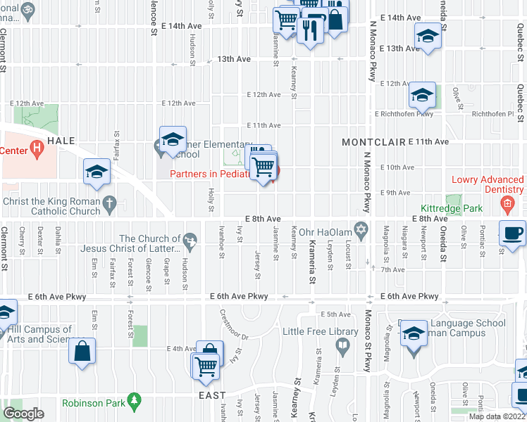 map of restaurants, bars, coffee shops, grocery stores, and more near 810 Jersey Street in Denver