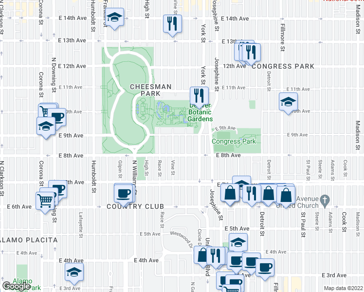 map of restaurants, bars, coffee shops, grocery stores, and more near 835 Gaylord St in Denver