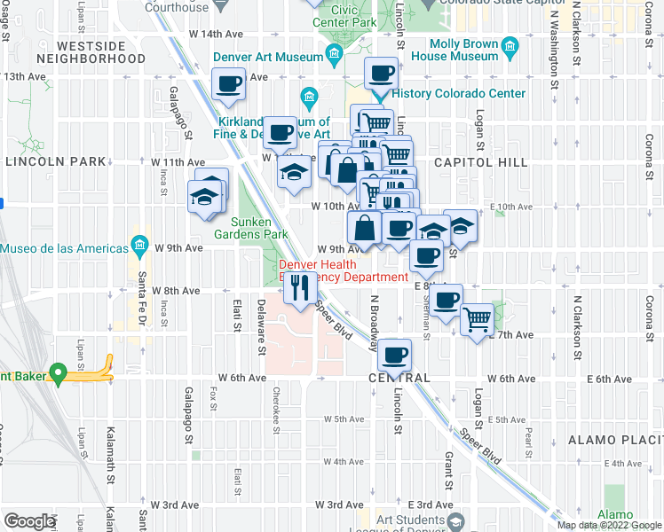 map of restaurants, bars, coffee shops, grocery stores, and more near 150 West 9th Avenue in Denver