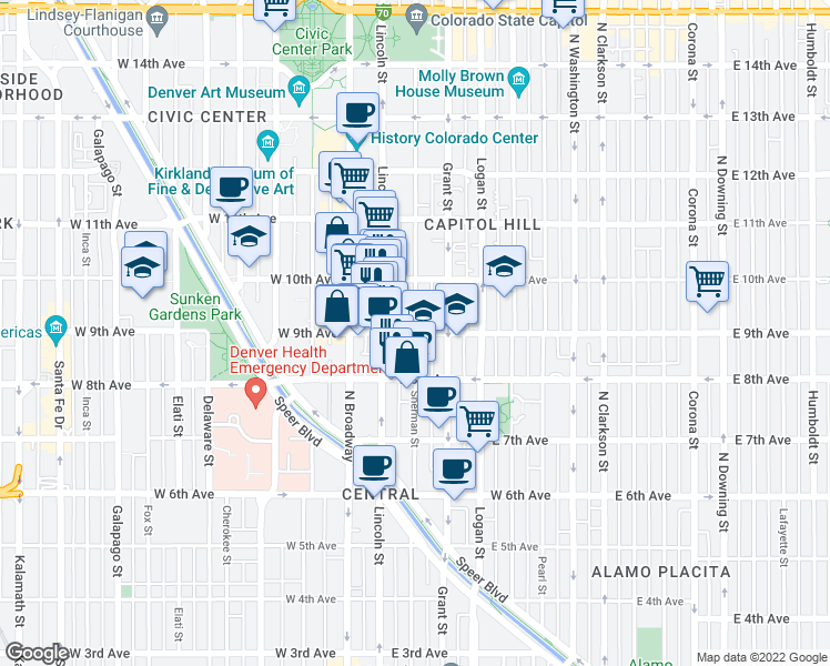 map of restaurants, bars, coffee shops, grocery stores, and more near E 9th Ave & Sherman St in Denver