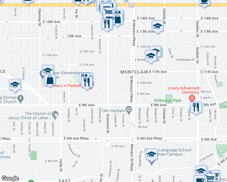 map of restaurants, bars, coffee shops, grocery stores, and more near 925 Leyden Street in Denver