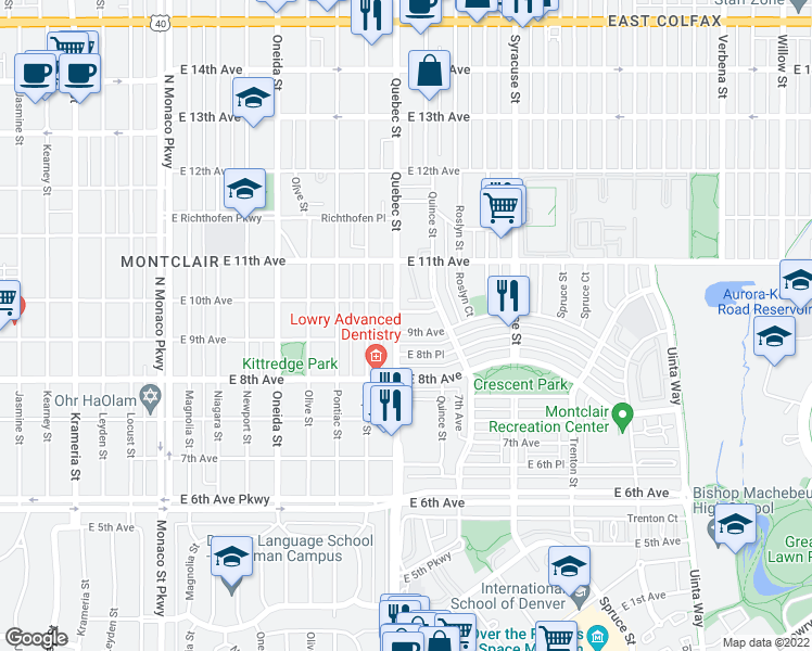map of restaurants, bars, coffee shops, grocery stores, and more near 7305 East 9th Avenue in Denver