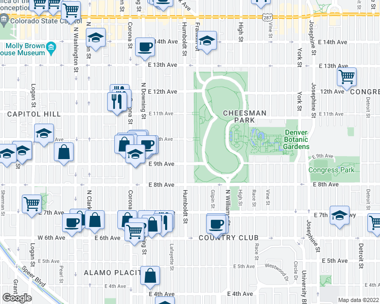 map of restaurants, bars, coffee shops, grocery stores, and more near 940 Humboldt Street in Denver