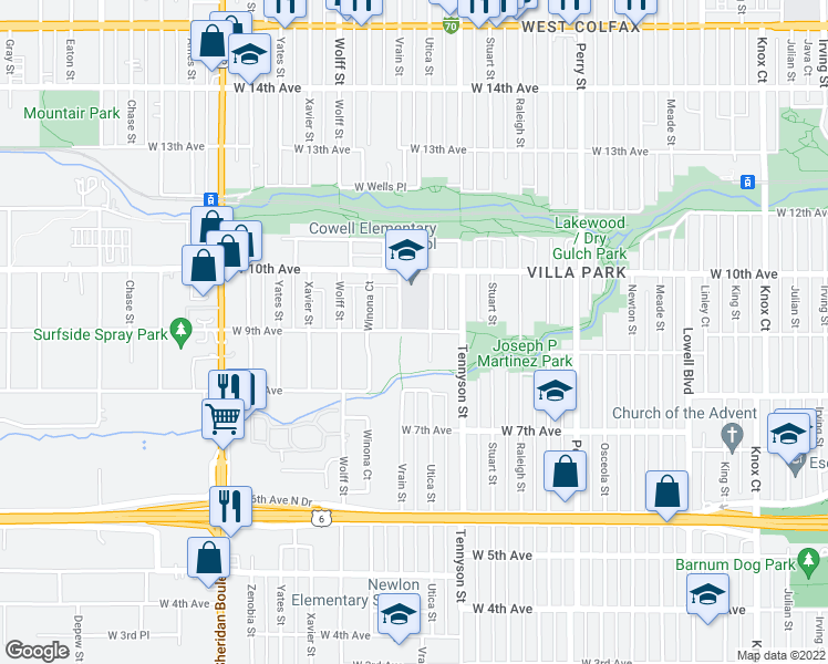 map of restaurants, bars, coffee shops, grocery stores, and more near 4600 West 9th Avenue in Denver