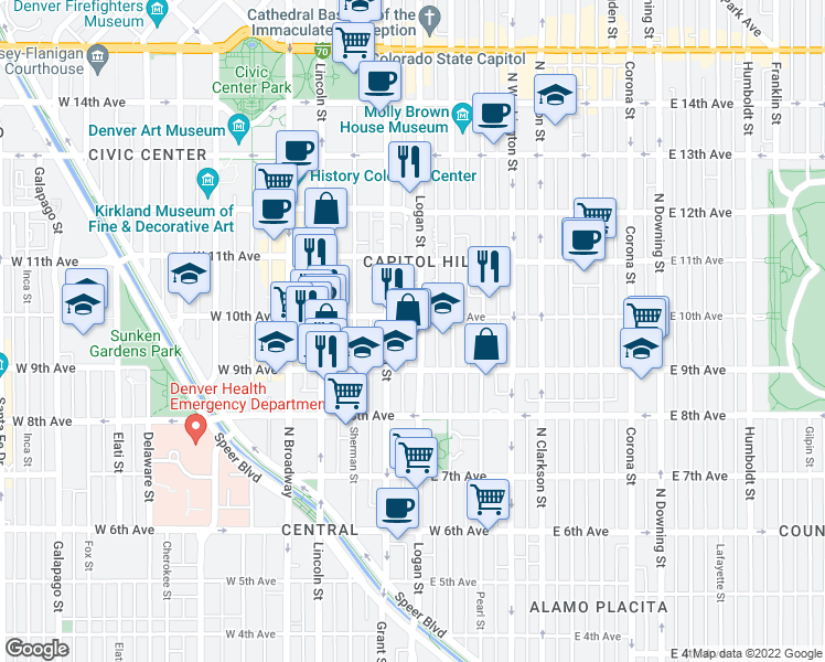 map of restaurants, bars, coffee shops, grocery stores, and more near 909 Logan Street in Denver