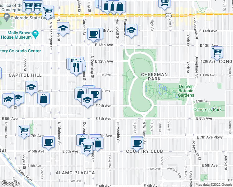 map of restaurants, bars, coffee shops, grocery stores, and more near 995 Humboldt Street in Denver