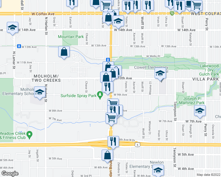 map of restaurants, bars, coffee shops, grocery stores, and more near 935 North Sheridan Boulevard in Lakewood
