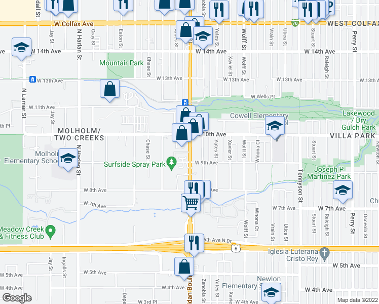 map of restaurants, bars, coffee shops, grocery stores, and more near 955 North Sheridan Boulevard in Lakewood