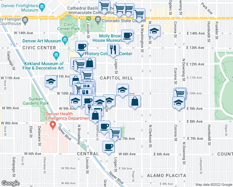 map of restaurants, bars, coffee shops, grocery stores, and more near E 10th Ave & Logan St in Denver